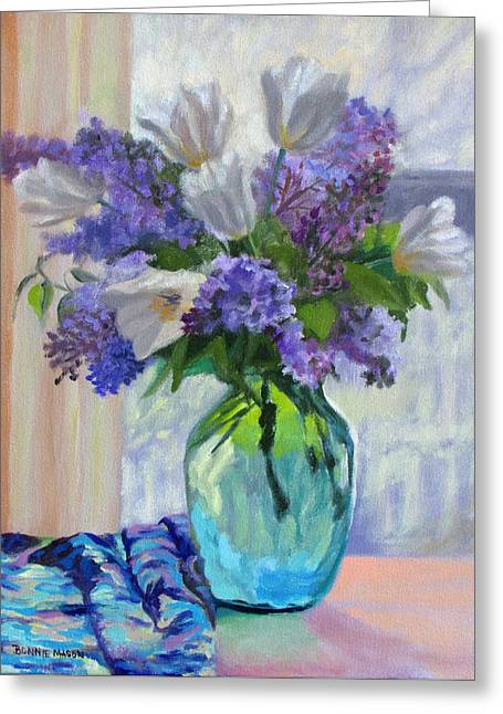 When Lilacs Bloomed Greeting Card by Bonnie Mason