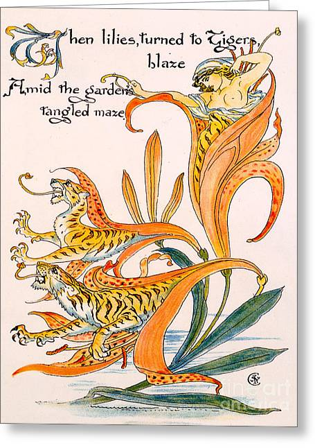 Tiger Illustration Greeting Cards - When lilies turned to Tiger Blaze Greeting Card by Walter Crane