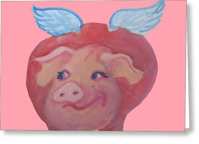 Cherie Sexsmith Greeting Cards - When Pigs Fly Greeting Card by Cherie Sexsmith