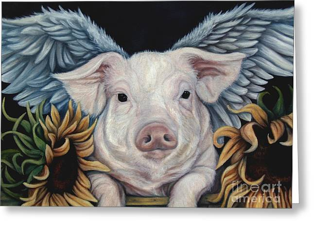 Pig Greeting Cards - When Pigs Fly Greeting Card by Lorraine Davis Martin