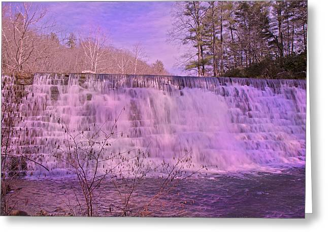 Water Falling Down Rocks Greeting Cards - When Pink Falls Greeting Card by Betsy C  Knapp