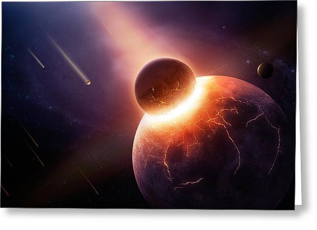 Destruction Greeting Cards - When planets collide Greeting Card by Johan Swanepoel