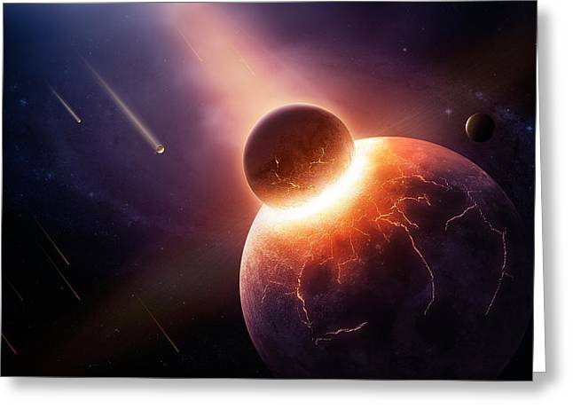 Hitting Greeting Cards - When planets collide Greeting Card by Johan Swanepoel