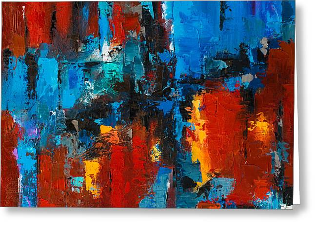 Abstract Oil Greeting Cards - When red and blue meet Greeting Card by Elise Palmigiani