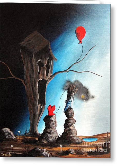 Balloon Flower Paintings Greeting Cards - When Shes Mad by Shawna Erback Greeting Card by Shawna Erback