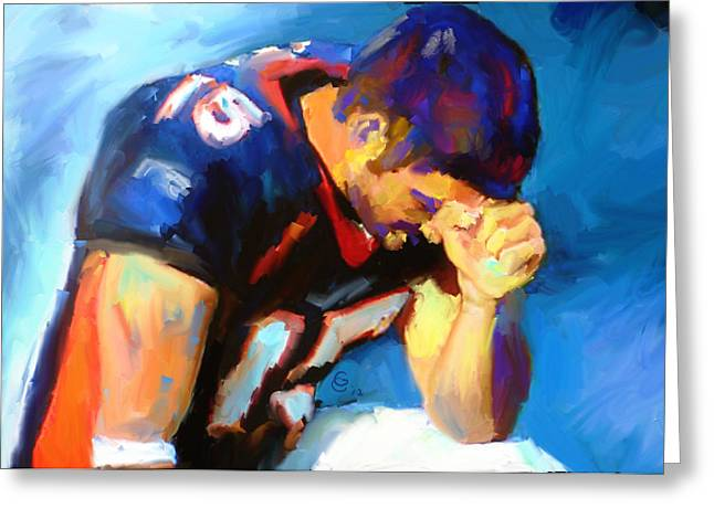 Florida Gators Mixed Media Greeting Cards - When Tebow was a Bronco Greeting Card by GCannon