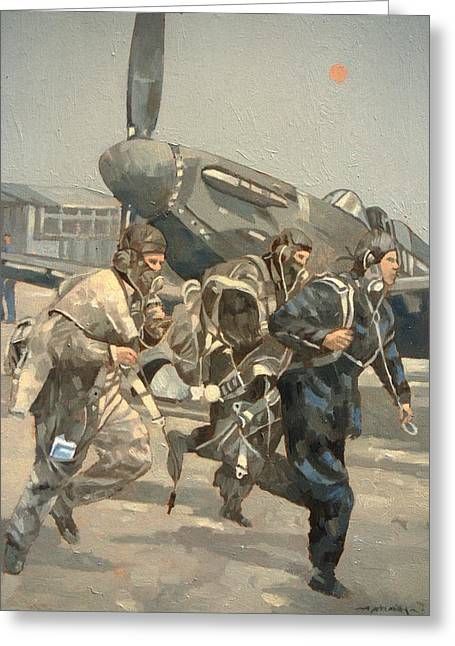 Airfield Greeting Cards - When The Bell Rings Oil On Canvas Greeting Card by Peter Miller