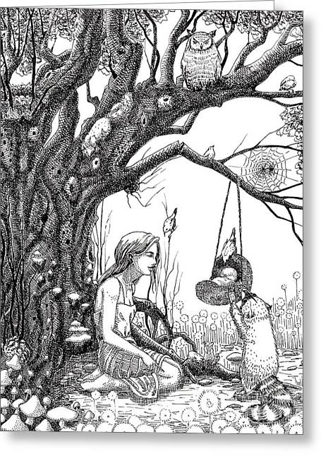 Mother Goose Drawings Greeting Cards - When the bough breaks Greeting Card by Margaret Schons