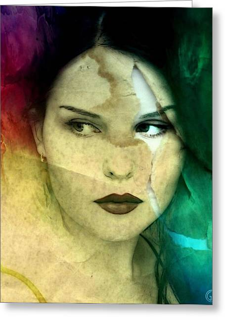 Real Face Digital Art Greeting Cards - When the facade cracks Greeting Card by Gun Legler