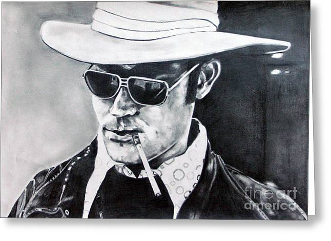 Las Vegas Drawings Greeting Cards - Hunter S. Thompson Greeting Card by Kim Chigi