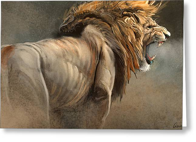 Wildlife Digital Art Greeting Cards - When The King Speaks Greeting Card by Aaron Blaise