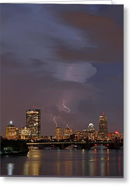 Boston Photos Greeting Cards - When the Lightning Strikes Greeting Card by Juergen Roth