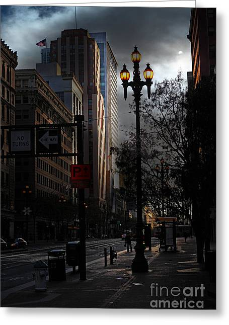 Palace Hotel Greeting Cards - When The Lights Go Down In San Francisco - 5D20613 Greeting Card by Wingsdomain Art and Photography