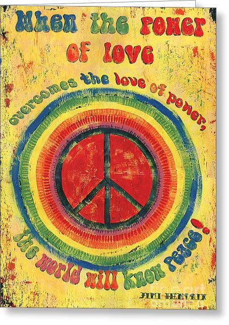 Graphic Greeting Cards - When the Power of Love Greeting Card by Debbie DeWitt