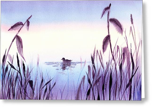 Duck Pond Greeting Cards - When The Sky Melts With Water A Peaceful Pond Greeting Card by Irina Sztukowski