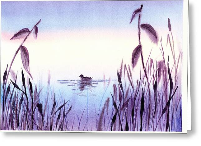 When The Sky Melts With Water A Peaceful Pond Greeting Card by Irina Sztukowski