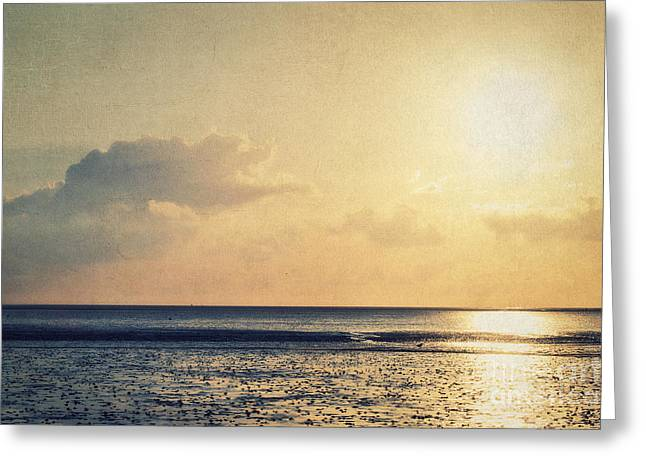 Wadden Sea Greeting Cards - When the sun goes down... Greeting Card by Angela Doelling AD DESIGN Photo and PhotoArt