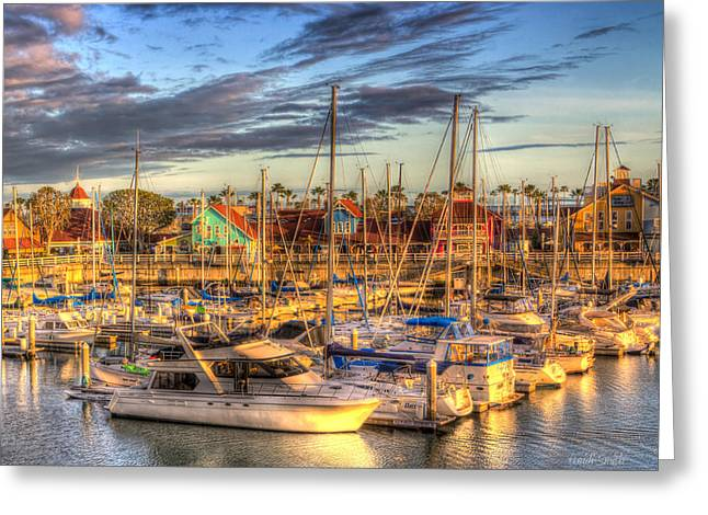 Marina Night Greeting Cards - When The Sun Goes Down Greeting Card by Heidi Smith