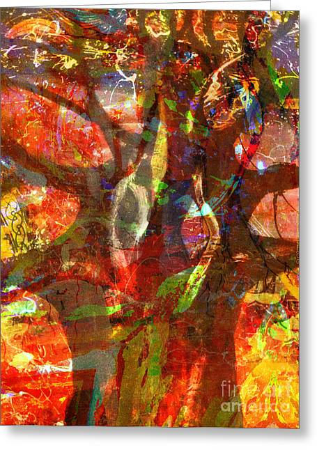 Choosing Mixed Media Greeting Cards - When Trees Dance Greeting Card by Fania Simon