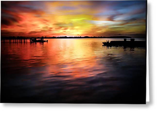 When Waters Meet The Heavens Greeting Card by Karen Wiles