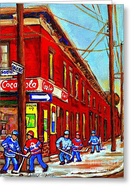 When We Were Young - Hockey Game At Piche's - Montreal Memories Of Goosevillage Greeting Card by Carole Spandau