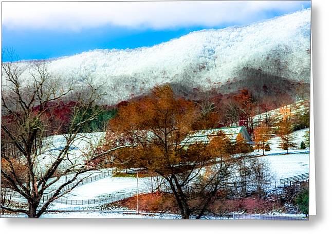 Appalachian Farm Greeting Cards - When Winter Blankets Autumn Greeting Card by Karen Wiles