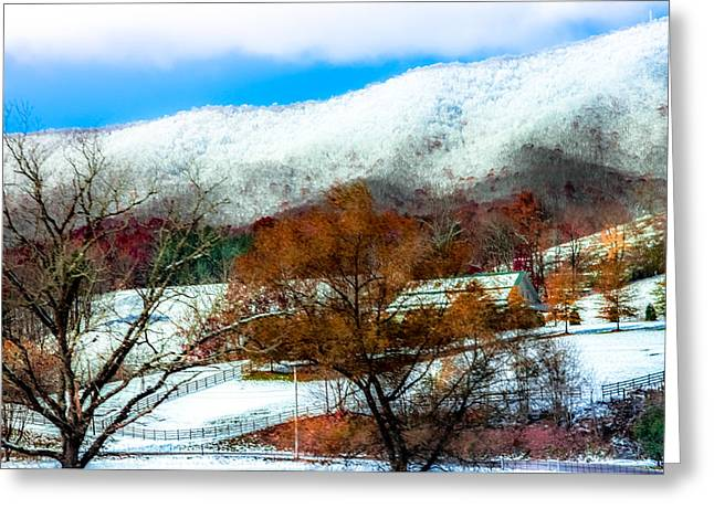 Enhanced Greeting Cards - When Winter Blankets Autumn Greeting Card by Karen Wiles