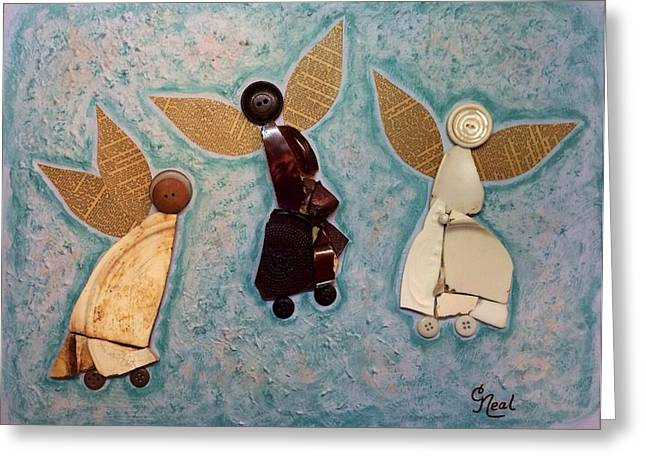 Angel Blues Greeting Cards - Where All is Peace and Joy and Love Greeting Card by Carol Neal