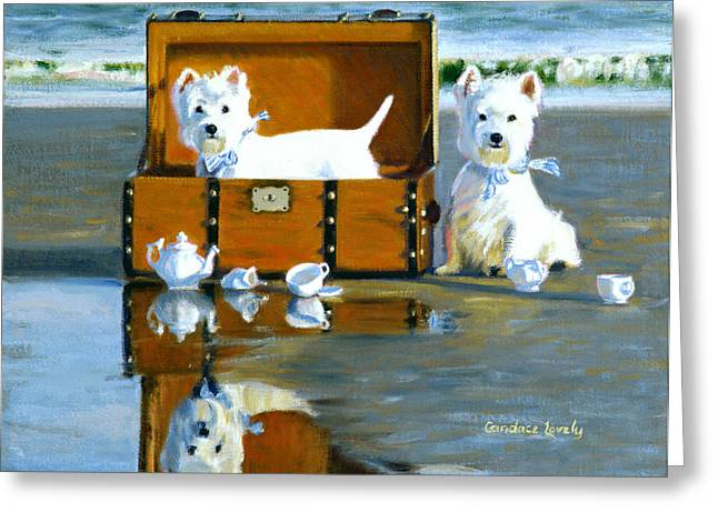 Dog Play Beach Greeting Cards - Where are the Cookies Greeting Card by Candace Lovely