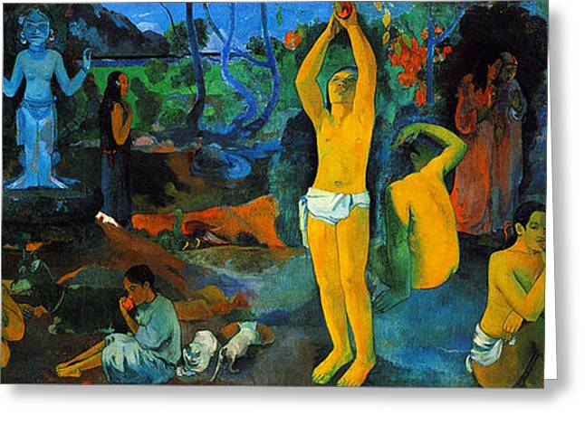 Impressionist Greeting Cards - Where Do We Come From. What Are We Doing. Where Are We going Greeting Card by Paul Gauguin