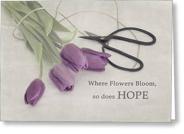 Lilac Tulip Flower Greeting Cards - Where Flowers Bloom Greeting Card by Kim Hojnacki