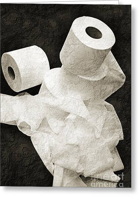 Ply Greeting Cards - Where Is My Spare Roll BW V1 Greeting Card by Andee Design