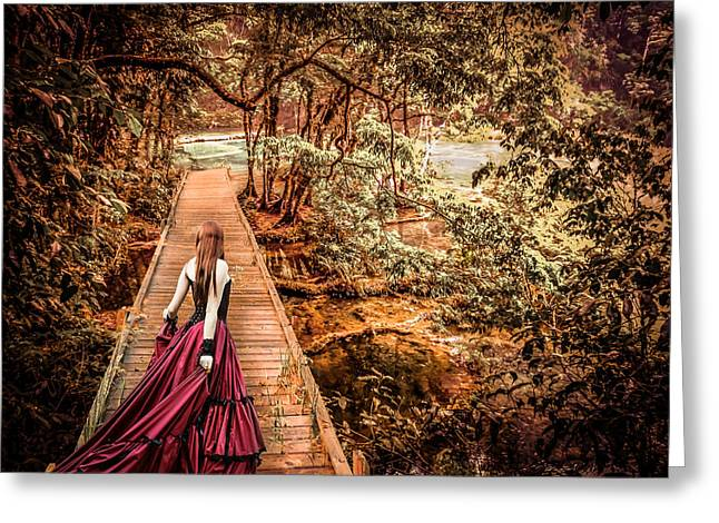 Long Skirt Greeting Cards - Where is the bridge going? Greeting Card by Catherine Arnas