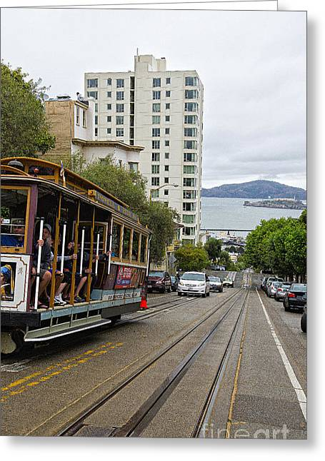 Alcatraz Greeting Cards - Where little cable cars... Greeting Card by David Bearden