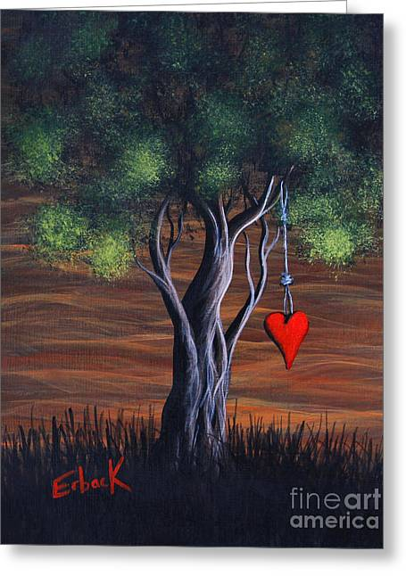 Surreal Fantasy Trees Landscape Greeting Cards - Where Love Grows by Shawna Erback Greeting Card by Shawna Erback