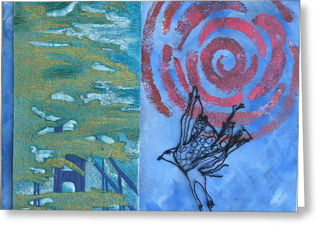 White Cloth Mixed Media Greeting Cards - Where My Spirit Soars Greeting Card by Elena Kazmier Miranda Radock