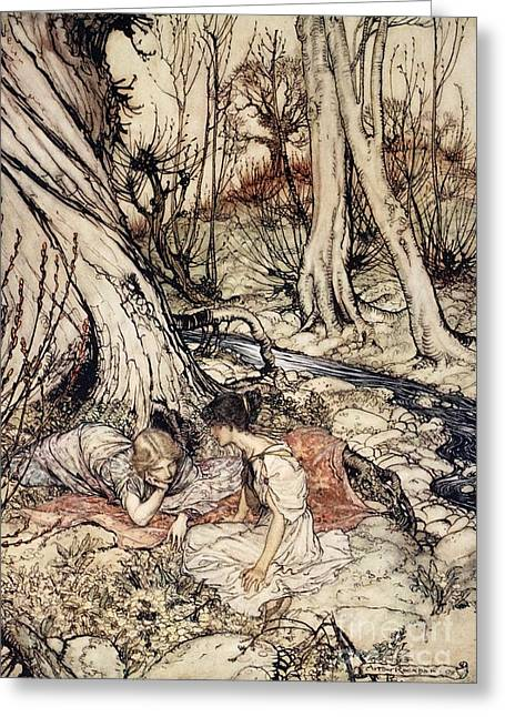 Arthur Rackham Greeting Cards - Where often you and I upon fain Primrose beds were wont to lie Greeting Card by Arthur Rackham