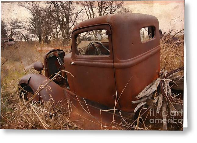 Old Trucks Greeting Cards - Where Old Trucks Go To Die Greeting Card by Betty LaRue
