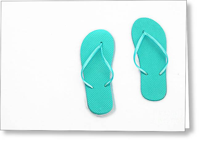 Where On Earth Is Spring - My Aqua Flip Flops Are Waiting Greeting Card by Andee Design