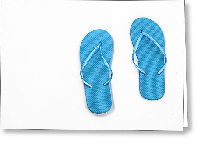 Where On Earth Is Spring - My Blue Flip Flops Are Waiting Greeting Card by Andee Design