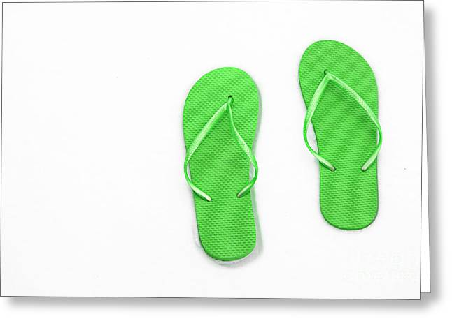 Where On Earth Is Spring - My Green Flip Flops Are Waiting Greeting Card by Andee Design