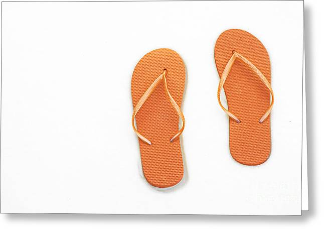 Where On Earth Is Spring - My Orange Flip Flops Are Waiting Greeting Card by Andee Design