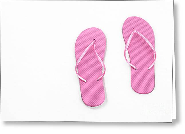 Where On Earth Is Spring - My Pink Flip Flops Are Waiting Greeting Card by Andee Design