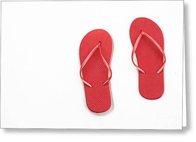 Where On Earth Is Spring - My Red Flip Flops Are Waiting Greeting Card by Andee Design