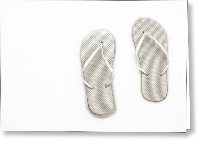 Where On Earth Is Spring - My Silver Flip Flops Are Waiting Greeting Card by Andee Design
