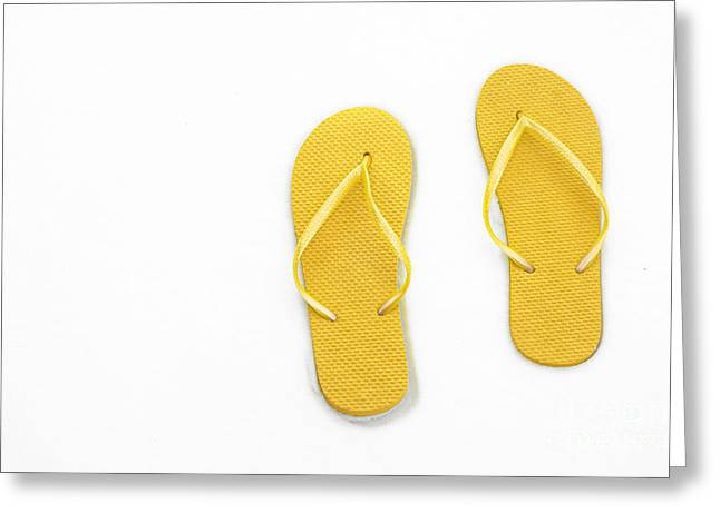 Where On Earth Is Spring - My Yellow Flip Flops Are Waiting Greeting Card by Andee Design