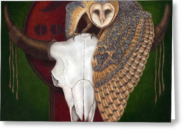 Barn Owls Greeting Cards - Where Once They Roamed Greeting Card by Pat Erickson
