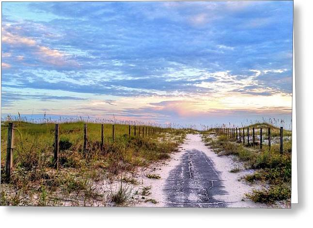 Sea Oats Greeting Cards - Where the Blacktop Ends - A Digital Rendition Greeting Card by JC Findley
