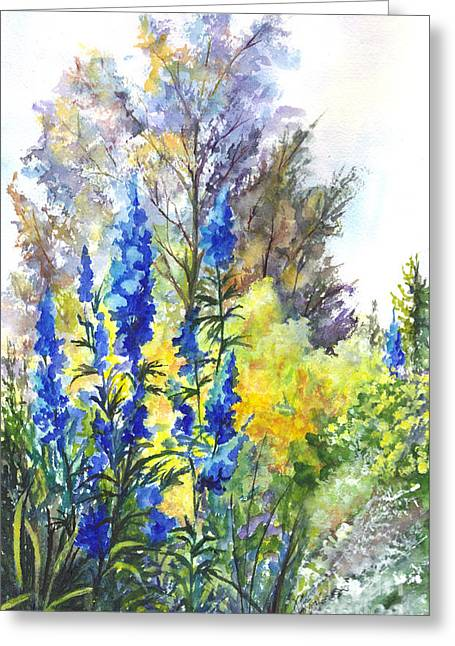Quality Drawings Greeting Cards - Where The Delphinium Blooms Greeting Card by Carol Wisniewski