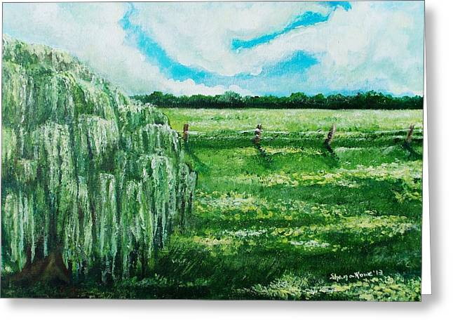 Babylon Paintings Greeting Cards - Where the Green Grass Grows Greeting Card by Shana Rowe